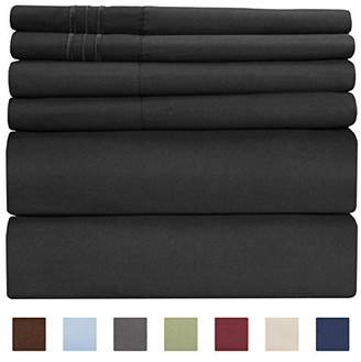 +Hotel by K-bros&Co Queen Size Sheet Set - 6 Piece Set - Hotel Luxury Bed Sheets - Extra Soft - Deep Pockets - Easy Fit - Breathable & Cooling Sheets - Wrinkle Free - Comfy - Black Bed Sheets - Queens Sheets - 6 PC