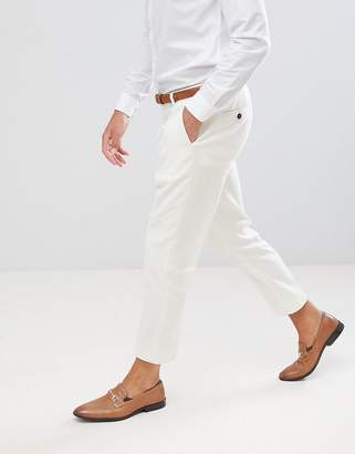 Twisted Tailor tapered PANTS in cream linen