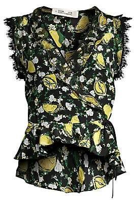 Diane von Furstenberg Women's Peona Print Peplum Wrap Top