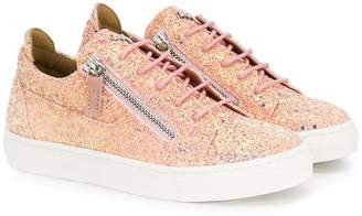 Giuseppe Junior glittery lace-up sneakers