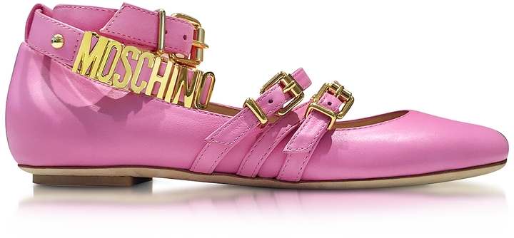 Moschino Moschino Pink Leather Flat Ballerinas w/Golden Buckles & Signature Logo