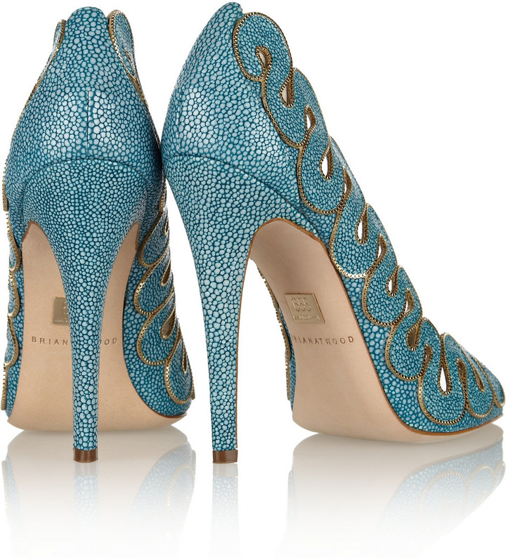 Brian Atwood Yana chain-trimmed stingray-effect leather pumps