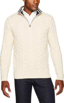 Nautica Men's Long Sleeve Snowy Cotton Cable & Rib Button Mockneck Sweater, Red