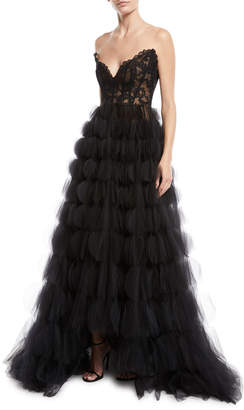 Oscar de la Renta Strapless Sweetheart Lace Bustier Circle-Cutout Tulle Evening Gown