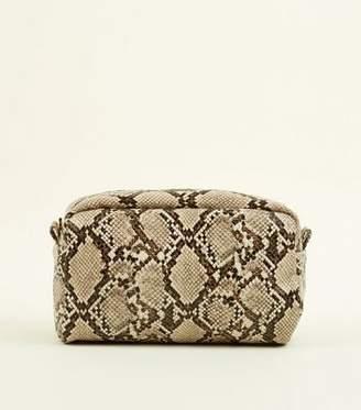 New Look Brown Oversized Faux Snakeskin Make-Up Bag