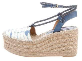 Ralph Lauren Purple Label Printed Espadrille Wedges