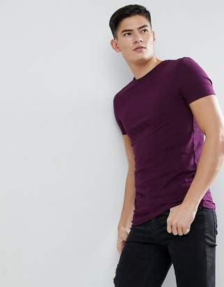 Asos DESIGN muscle fit t-shirt with crew neck in purple