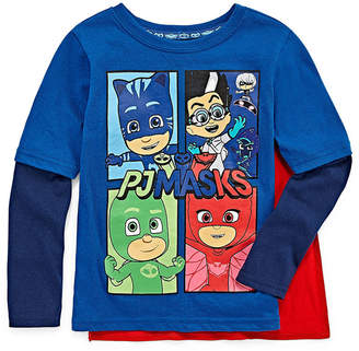 PJ MASKS Long Sleeve Crew Neck T-Shirt with Velcrow Cape Toddler Boys