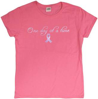 "Gildan Breast Cancer Awareness Ladie's Foil T-Shirt ""One Day At A Time"""