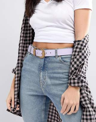 Asos Design Lilac Western Belt with Old Gold Buckle