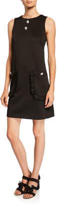 Betsey Johnson Sleeveless Floral Applique Shift Dress