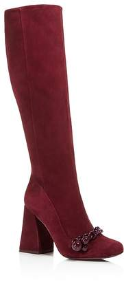 Tory Burch Addison Suede Square Toe Knee Boots