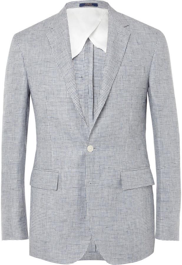 Polo Ralph LaurenPolo Ralph Lauren Blue Morgan Slim-Fit Puppytooth Linen Blazer