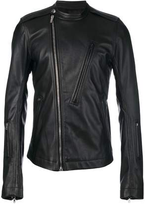 Rick Owens band collar biker jacket
