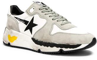 Golden Goose Running Sole Sneaker in White & Black   FWRD