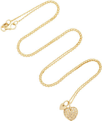 With Love Darling Two Hearts 18K Gold Diamond Necklace