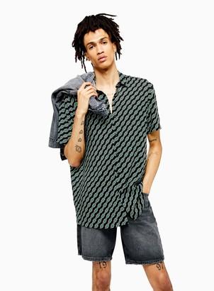 TopmanTopman Black and Green Geometric Print Slim Shirt
