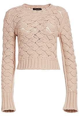 Loro Piana Women's Aveyron Cashmere Long Sleeve Cropped Sweater