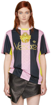 b96f82f3 Versace Pink and Black Stripe Logo Football T-Shirt