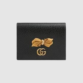 Gucci (グッチ) - ボウ レザー カードケース(コイン&紙幣入れ付き)