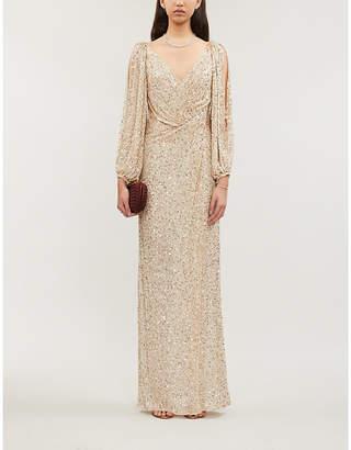 Jenny Packham Ida cutout-sleeve split-hem sequin-embellished gown
