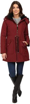 Jessica Simpson Quilted Fill Puffer w/ Drawstrings Hood and Removable Faux Fur Women's Coat