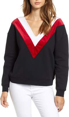 KENDALL + KYLIE Chevron Double V-Neck Sweatshirt