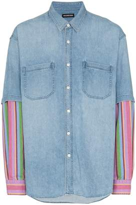 Balenciaga long sleeve denim stripe shirt