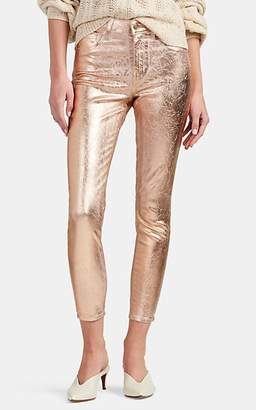 L'Agence Women's Margot Metallic Skinny Crop Jeans - Gold