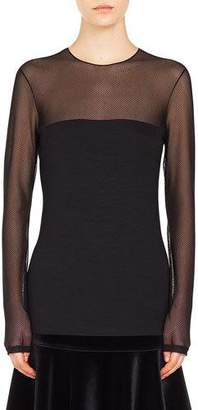 Akris Punto Dotted-Tulle Round-Neck Long-Sleeve Jersey Top