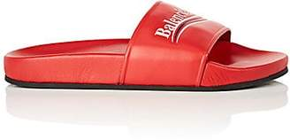 Balenciaga Women's Leather Slide Sandals - Red