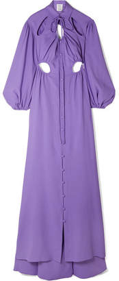 Rosie Assoulin Cry Baby Cutout Crepe Gown - Purple