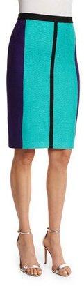 St. John Collection Boucle Knit Colorblock Pencil Skirt, Seafoam/Multi $595 thestylecure.com