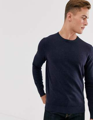 Selected cotton crew neck knitted sweater in navy