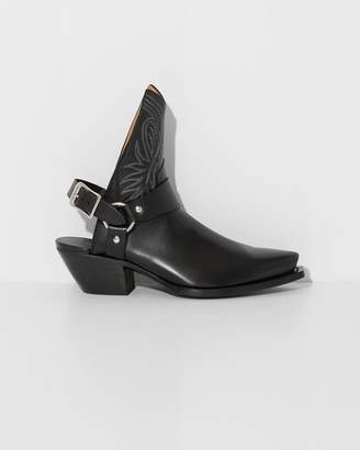 R 13 Black Half Cowboy Boots with Harness