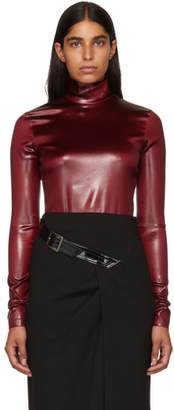 Givenchy Burgundy Faux-Leather Turtleneck Bodysuit