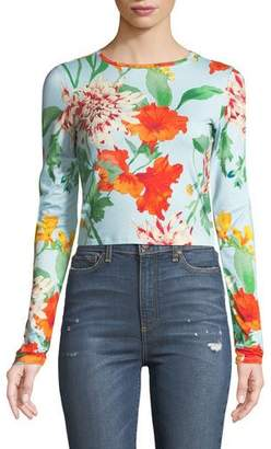 Alice + Olivia x Donald Robertson Delaina Floral Long-Sleeve Crewneck Top
