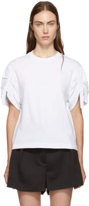 3.1 Phillip Lim White Gathered Sleeves T-Shirt