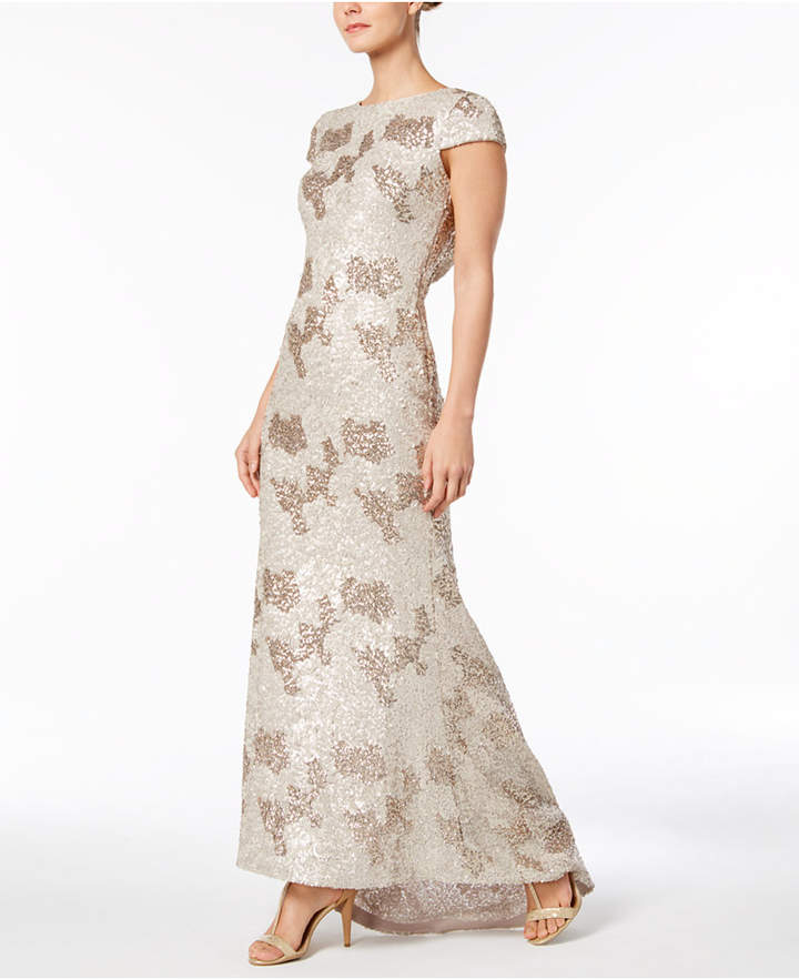 Calvin Klein Sequined Draped-Back Gown