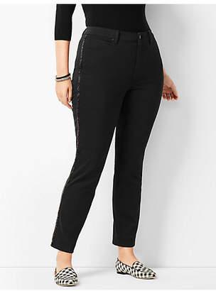 Talbots Beaded Tuxedo-Stripe High-Rise Straight-Leg Ankle Jeans - Never Fade Black