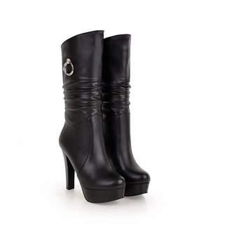 c9f2cc374f7e T-JULY Women s Pu Mid Calf Boots Round Toe Autumn Winter Boots Slip on  Platform