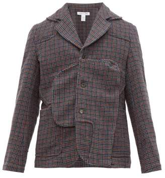 Comme des Garcons Panelled Houndstooth Wool Blazer - Mens - Grey