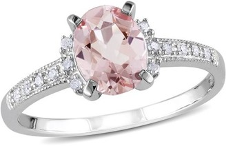 Tangelo 1-1/7 Carat T.G.W. Morganite and Diamond Accent Sterling Silver Cocktail Ring