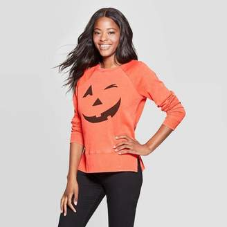 Grayson Threads Women's Jack-O'-Lantern Long Sleeve Graphic Sweatshirt (Juniors') - Orange