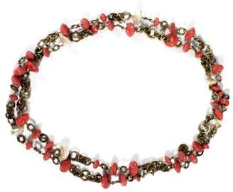 Chanel Gold Tone Hardware Simulated Glass Pearl & Coral Colored Beads Necklace