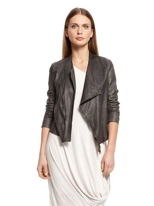 DKNY Garment Dyed Leather Jacket