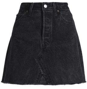 Levi's Re/Done By Frayed Distressed Denim Mini Skirt