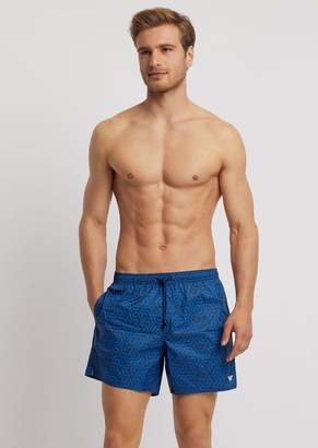 Emporio Armani Swimming Trunks In Tech Fabric With Geometric Pattern And Logo