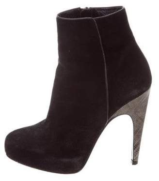 Barbara Bui Lizard-Trimmed Suede Ankle Boots Black Lizard-Trimmed Suede Ankle Boots
