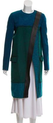 Proenza Schouler Leather Trim Bouclé Knit Coat